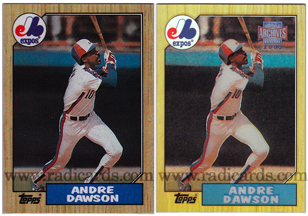 Andre Dawson 1987 Topps and 2002 Topps Archives