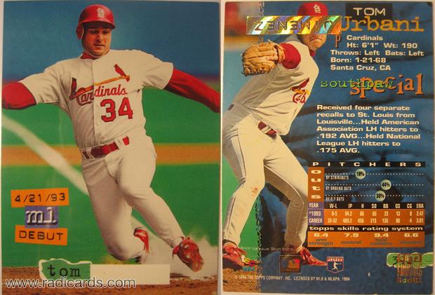 Tom Urbani 1994 Stadium Club #392 Error