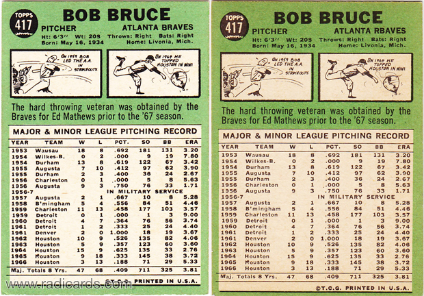 Bob Bruce 1967 Topps #417 Variation Comparison