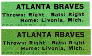 Bob Bruce 1967 Topps #417 Variation Comparison