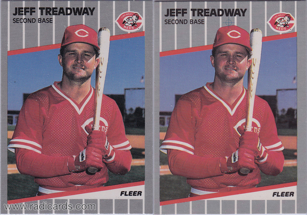 Jeff Treadway 1989 Fleer #173 Variation Comparison