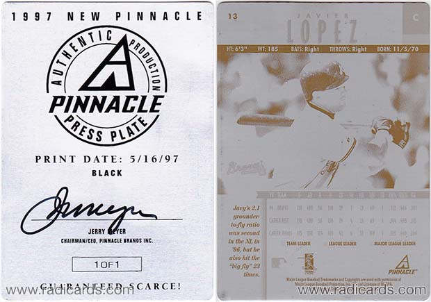 Javier Lopez 1997 New Pinnacle #13 Press Plate Black