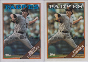 Keith Comstock 1988 Topps #778 Variation Comparison