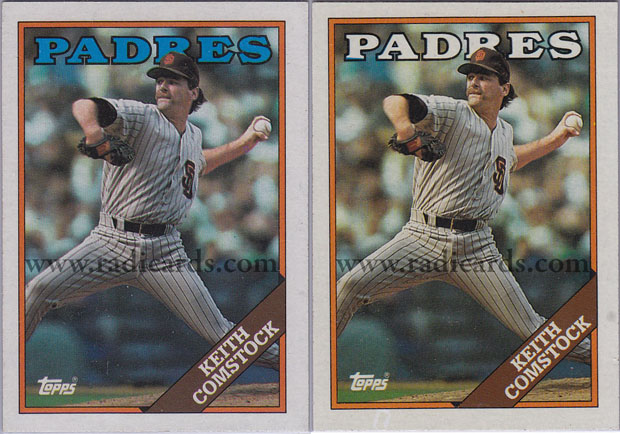 Keith Comstock 1988 Topps 778 Variation Comparison The Radicards
