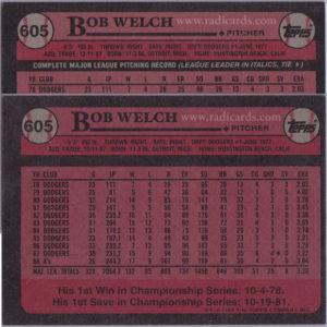 Bob Welch 1989 Topps #605 Variation Comparison