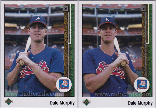 Dale Murphy 1989 Upper Deck #357 Variation Comparison