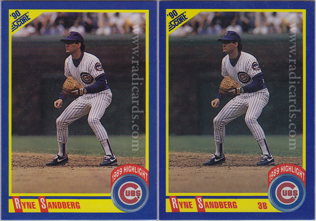 Ryne Sandberg 1990 Score 561 Variation Comparison The Radicards Blog