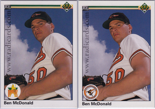 Ben McDonald 1990 Upper Deck #54 Variation Comparison