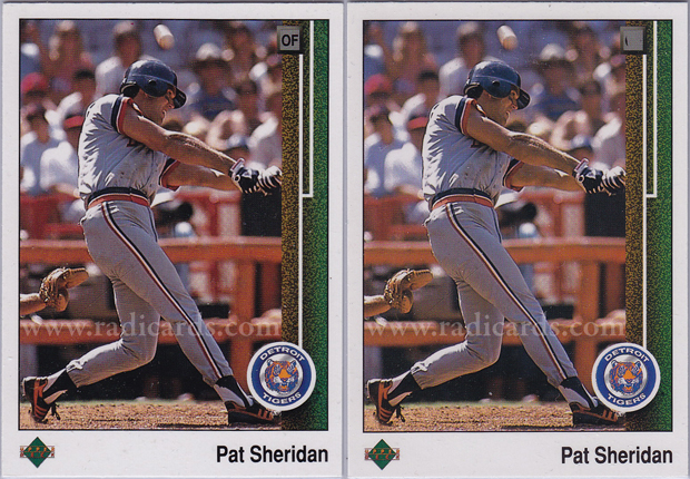 Pat Sheridan 1989 Upper Deck #652 Variation Comparison