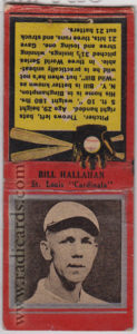 Bill Hallahan 1934 Diamond Matchbooks Co. Silver Border #83
