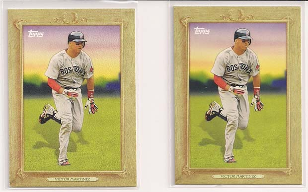 Victor Martinez 2010 Topps Turkey Red #TR30 Variation Comparison