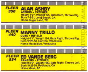 1989 Fleer Baseball Typo