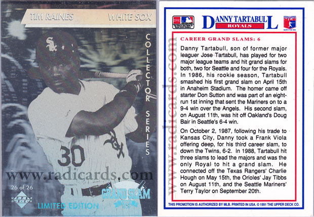 Tim Raines 1991 Denny's Holograms #26 Error