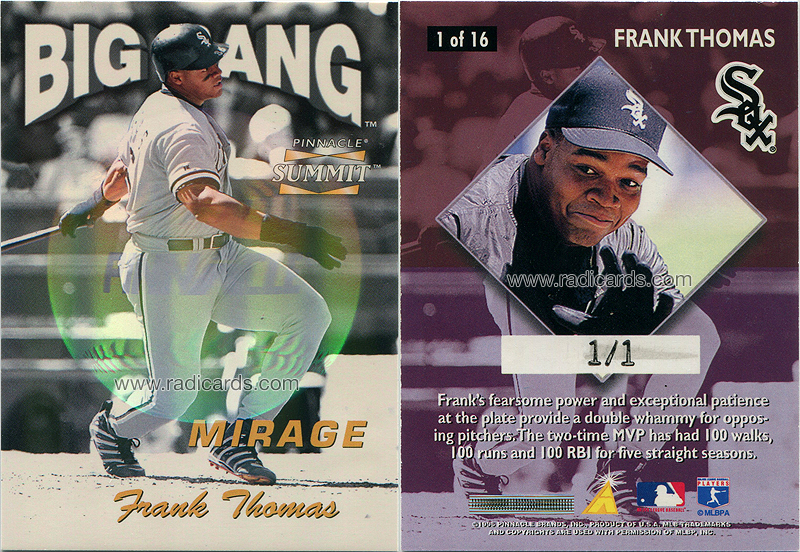 Frank Thomas 1996 Summit Big Bang #1 Mirage Contest Redemption /1