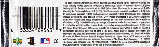 2003 Upper Deck MVP Baseball odds