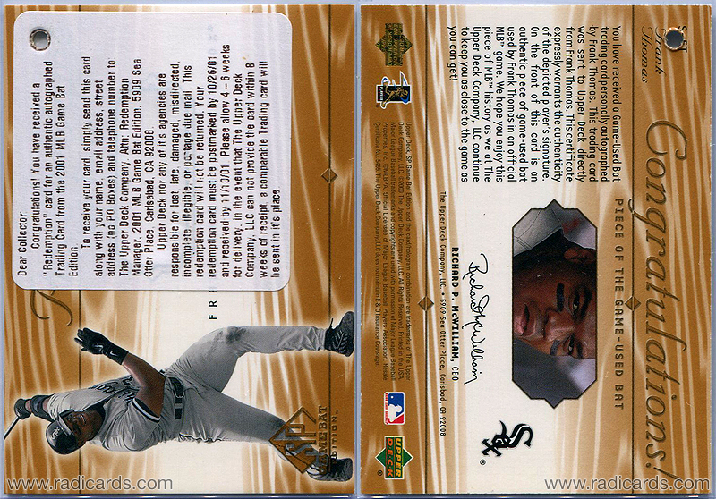 Frank Thomas 2001 SP Game Bat Edition Piece of the Game #S-FT Autograph Redemption