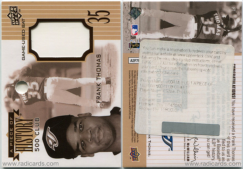 Frank Thomas 2008 Upper Deck A Piece of History 500 Club #FT Redemption