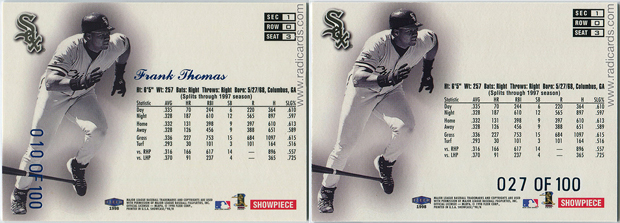 1998 Flair Showcase Legacy Collection Row 0 | Left (Correct); Right (Aftermarket)