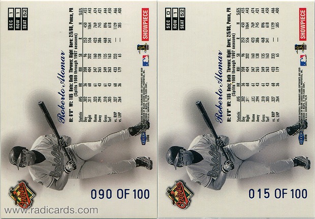 Roberto Alomar 1998 Flair Showcase Row 1 #52 Legacy Collection Variation Comparison