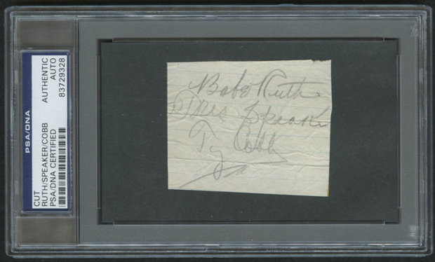 2x3 Cut Signed by: Babe Ruth, Tris Speaker, and Ty Cobb | Source: pristineauction.com