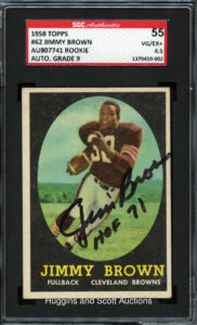 Jim Brown 1958 Topps #62 Signed | Source: hugginsandscott.com