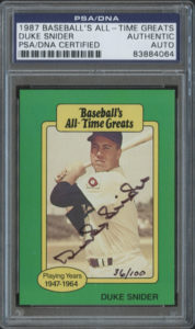 Duke Snider 1987 Hygrade All-Time Greats #87 | Source: pristineauction.com