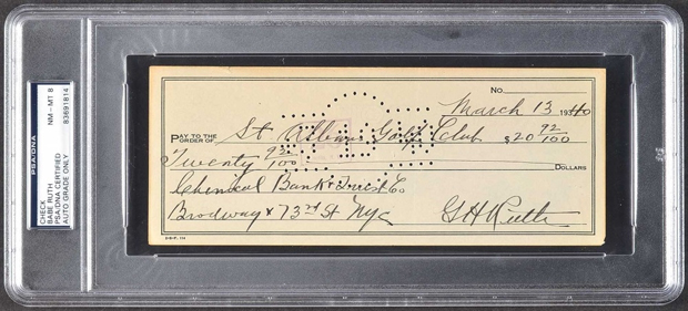 Babe Ruth Signed Personal Bank Check | Source: pristineauction.com