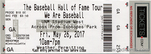 Touring Baseball Hall of Fame Exhibit Ticket