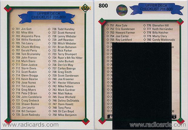 Checklist 1990 Upper Deck #800A depicting card #702 as Mike Witt