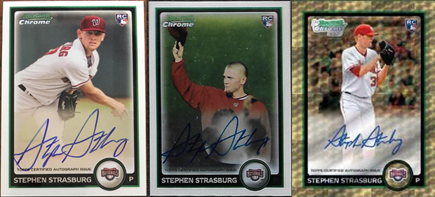 The Three Different Stephen Strasburg 2010 Bowman Chrome AUs