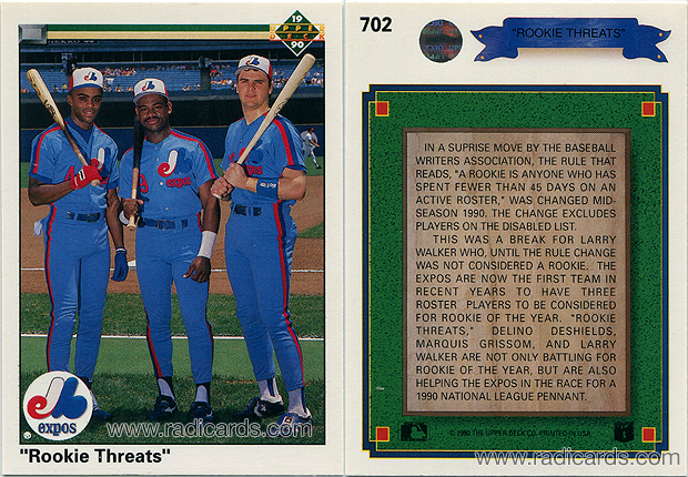 """Rookie Threats"" 1990 Upper Deck #702"