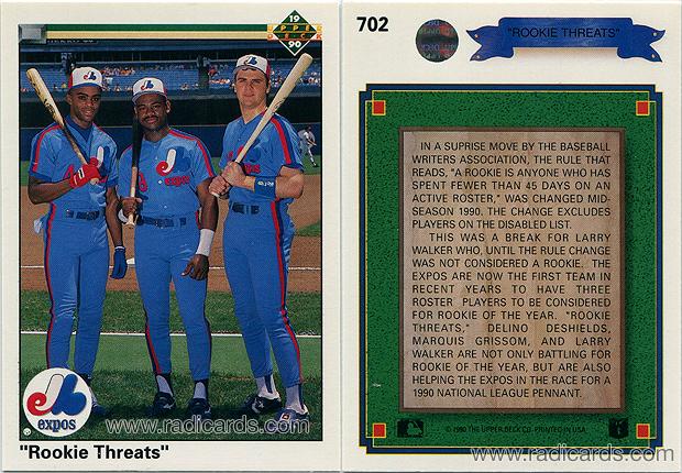 """Rookie Threats"" 1990 Upper Deck #702"