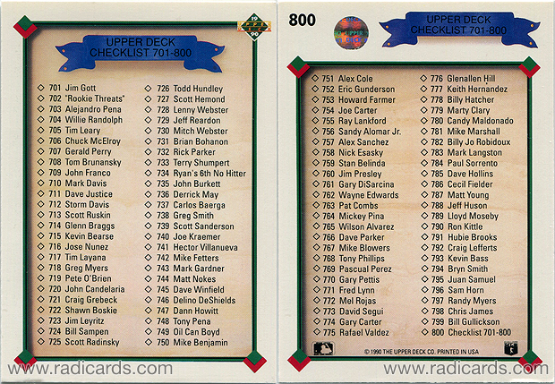 "Checklist 1990 Upper Deck #800 depicting card #702 as ""Rookie Threats"""