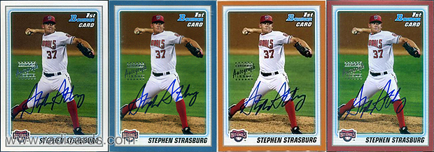 Stephen Strasburg 2010 Bowman Prospects AU #BP1b. Red Parallel image courtesy of Huggins & Scott Auctions.