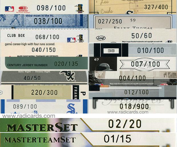 2003 Donruss Team Heroes Master Set and Master Team Set   Serial Number Font Comparison