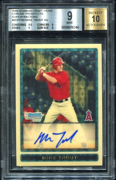 Mike Trout 2009 Bowman Chrome Draft Prospects #BDPP89 Superfractor /1