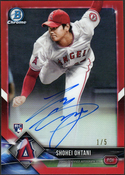 Shohei Ohtani 2018 Bowman Chrome Rookie Autographs #CRASO Red Refractor /5