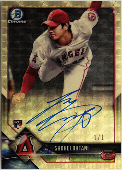 Shohei Ohtani 2018 Bowman Chrome Rookie Autographs #CRASO Superfractor /1 | Source: www.blowoutcards.com/blog