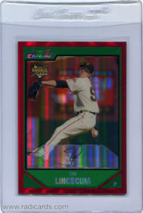 Tim Lincecum 2007 Bowman Chrome #217 Red Refractor /5