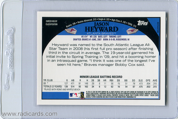 Jason Heyward 2009 Topps Chrome Red Refractor Prototype Back