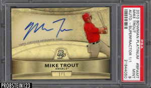 Mike Trout 2010 Bowman Platinum Prospects Autographs #MT Superfractor /1