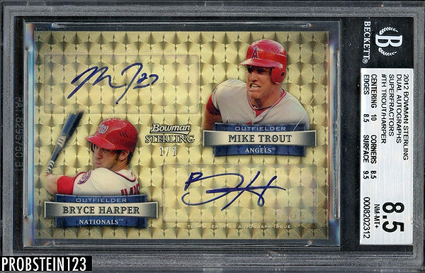 Mike Trout / Bryce Harper 2012 Bowman Sterling Dual Autographs #TH Superfractor /1
