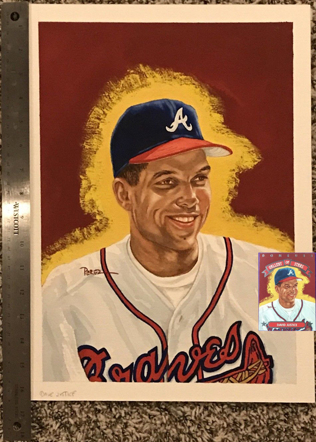 David Justice 1992 Triple Play Gallery of Stars #GS-9 Original Dick Perez Painting