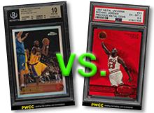 Kobe Bryant 1996-97 Topps Chrome Refractor | Michael Jordan 1997-98 Metal Universe Precious Metal Gems (PMG) Red