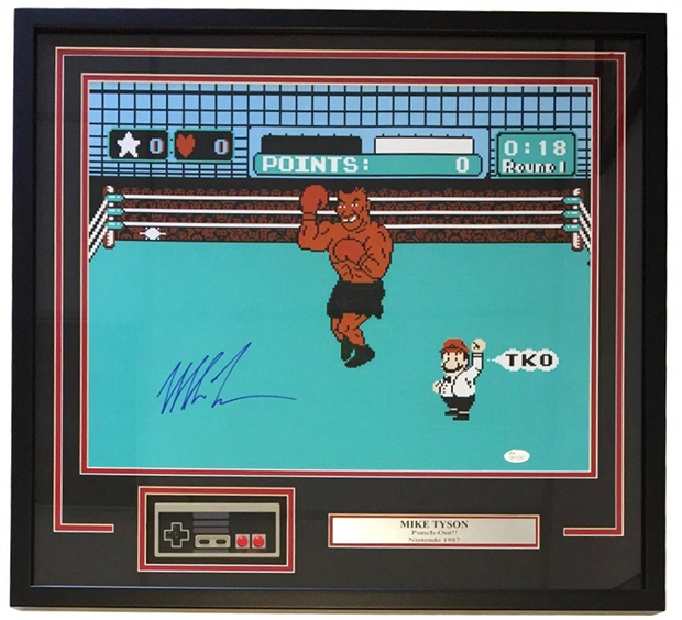 Mike Tyson Signed Punch Out Photo with Original NES Controller