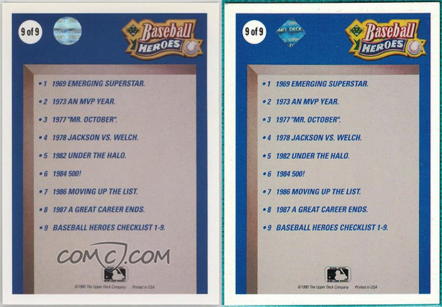 Reggie Jackson 1990 Upper Deck Heroes #9 Hologram Comparison