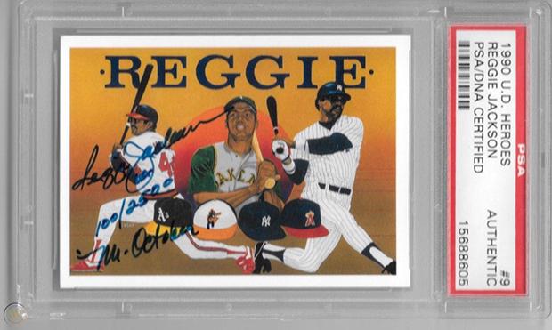 Reggie Jackson 1990 Upper Deck Heroes #9 AU /2500