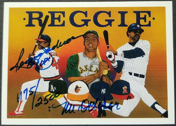 Reggie Jackson 1990 Upper Deck Heroes #9 AU /2500 w/ False Inscription