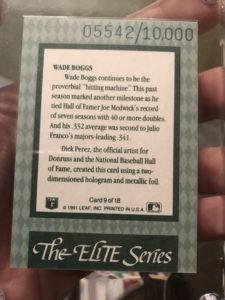 Wade Boggs 1992 Donruss Elite #9 Replacement