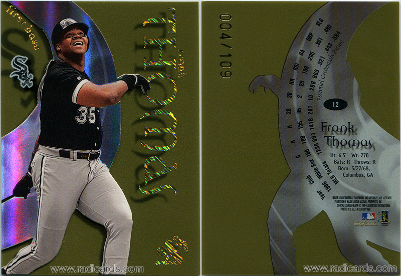 Frank Thomas 1999 E-X Century #9 Essential Credentials Future / 109